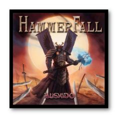 Cuadro con marco negro de aluminio para disco de vinilo / Hammerfall - Bushido / #Hammerfall