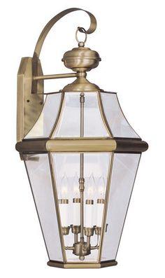 Livex Lighting 2366-01 Georgetown Outdoor Wall Lantern in Antique Brass