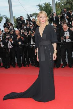 Cate Blanchett wears an all black Armani Privé look on the Cannes red carpet