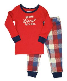 Another great find on #zulily! Red & Blue Plaid 'Grown Local' Pajama Set - Toddler by Farm Boy #zulilyfinds