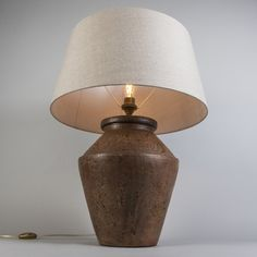 Table Lamp Pina Rust with Shade 55cm Linen-Natural