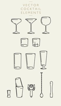 Introducing Cocktail Elements Vector & PNG by We Are Colt --- Cocktail Elements Vector & PNG - Illustrator and Photoshop compatible 13 carefully crafted Cocktail Book, Cocktail Menu, Cocktail Glass, Cocktail Recipes, Cocktails Vector, Cocktails Bar, Drinks, Cocktail Illustration, Illustration Vector