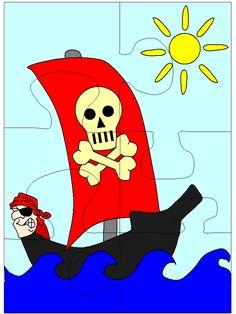 Pirate Activities, Activities For Kids, Crafts For Kids, Puzzles For Kids, Worksheets For Kids, Counting Puzzles, Transportation Unit, Preschool Math, Creative Kids