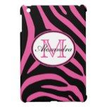 Pink and Black Zebra Stripes Monogram Cover For The iPad Mini
