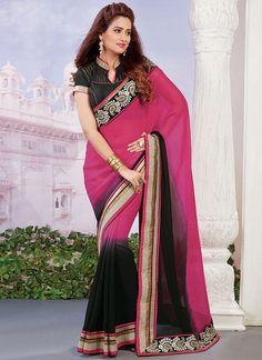 Pink And Black Shaded Viscose Saree