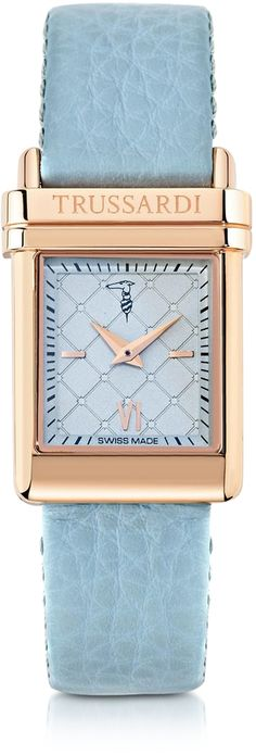 Trussardi Elegance Rose Gold Stainless Steel w/Light Blue Leather Strap Women's Watch at Forzieri $686