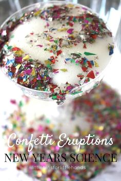 Confetti Science Eruptions New Years Eve Activity for Kids. New years Day science experiment with baking soda science for kids. Classic science for New Years party ideas. New Year's Eve Activities, Preschool Science Activities, Camping Activities For Kids, Science Party, Science For Kids, Toddler Activities, Party Activities, Winter Activities, Science Experiments
