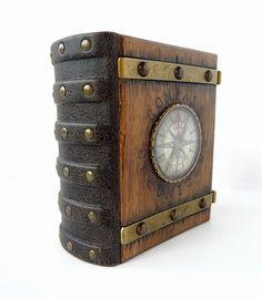 Book Journal, Journals, Sundial, Book Of Shadows, Compass Tattoo, Wood Watch, Metal Working, Book Art, Steampunk