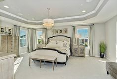 Transitional Master Bedroom with Imbuia 5 Light Drum Pendant, Carpet, Pendant Light, Bergman King Bed, High ceiling