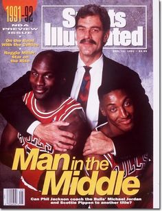 Chicago Bulls Sports Illustrated 1991-92 Pro Basketball cover with Phil Jackson, Michael Jordan and Scottie Pippen