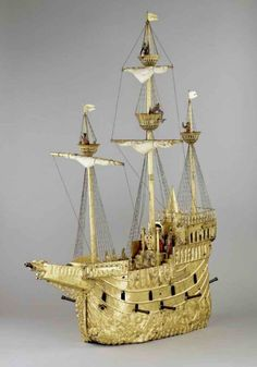 This is the Nef Galleon, a beautiful mechanical toy ship from 1500AD.  Wouldn't you have liked to have had this as a kid?