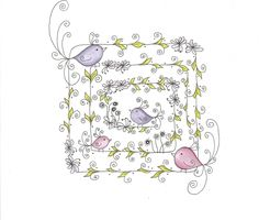zentangle inspired art birds