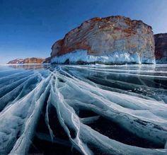 Frozen Lake Baikal Siberia Russia
