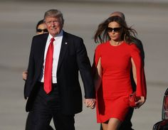 Melania Trump Photos Photos - U.S. President Donald Trump  walks with his wife Melania Trump on the tarmac after he arrived on Air Force One at the Palm Beach International Airport for a visit to his Mar-a-Lago Resort for the weekend on February 3, 2017 in Palm Beach, Florida. President Donald Trump is on his his first visit to Palm Beach since his inauguration. - Donald Trump Spends The Weekend In Palm Beach