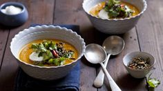 Roasted pumpkin and root-vegetable soup with cinnamon and ginger
