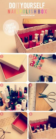 Smart organizer for your nail polishes. Get a shoe box decorated by anyway as you like. Label the colors on the cover of the nail polishes. It is a super smart way to get your innumerable make up items organized and finds the colors when you open the box.