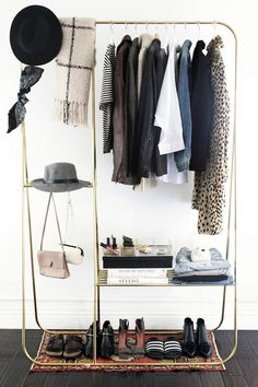 How to put together a stylish open closet // gold clothing rack, scarves, jackets, hats, tops and shoes My New Room, My Room, Dorm Room, Home Decoracion, Interior Decorating, Interior Design, Design Design, Design Ideas, Closet Space