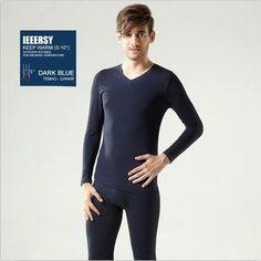 Underwear Modal Men Thermal Underwear Long Johns V-Neck Collar Men's Warm Underwear Suit Men Long Johns Winter Set