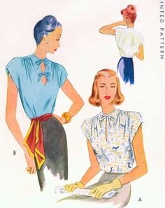 1940s Film Noir Blouse Pattern McCall 6818 Double Diamond Shape Keyhole or Slit Neckline Draped Shoulders Beautiful Tuck In Blouse Day or Evening Bust 32 Vintage Sewing Pattern