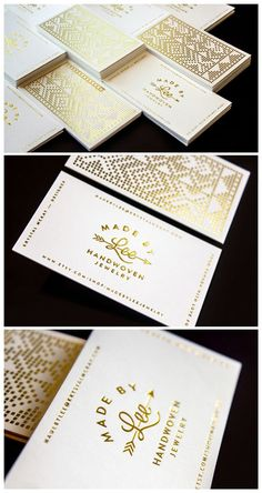 Gold foil Made by Lee Handwoven Jewelry Business cards Designed by >>> Krystal McKay #UniqueBusinessCards