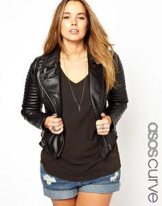 ASOS CURVE - Leather Biker Jacket