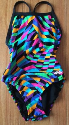 Dolphin 30 Multicolored One Piece Swimsuit Racer Circle Back Lined No Padding