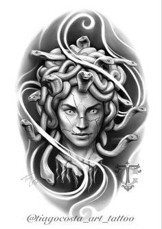 Medusa Kunst, Medusa Art, Medusa Gorgon, Tribal Tattoos, Tattoos Skull, Body Art Tattoos, Sleeve Tattoos, Tattoo Studio, Design Dragon