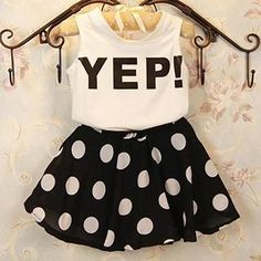 Kids Set: Lettering Tank Top + Polka Dot Skirt from #YesStyle <3 Hanabi YesStyle.com