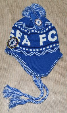 f3d96463c02 CHELSEA FC SOCCER PERUVIAN BEANIE NEW ! OFFICIAL SKULL CAP HAT WINTER