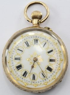 Antique 14K Gold Swiss Gold Enamel Pocket Watch. The watch is in great antique estate condition and ready to use. The watch is running but requires a slight shake to get running. The enamel dial is in