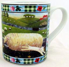 Sheep Mug Exclusive Funny & Cute Lamb Farm Scene Porcelain Mug Hand Made in UK #RainbowDecorsLtd #ArtDeco