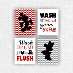 Minnie Mouse and Mickey Mouse Wall Art, Disney bathroom Quote decor Art, Set of 4, 8x10, instant download, Red, Gray, Black by myfavoritedecor on Etsy https://www.etsy.com/listing/227510591/minnie-mouse-and-mickey-mouse-wall-art