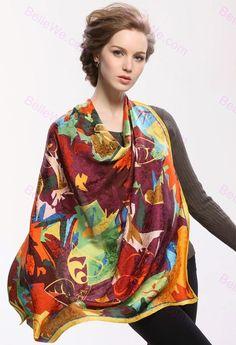 foulard soie femme | Foulard en soie naturelle femme imprimé fleurs feuilles