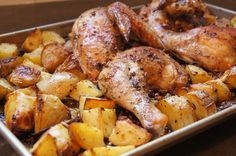 Greek Chicken with Roast Potatoes / momskitchenhandbook.com