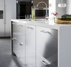 Prep in style with a spacious IKEA kitchen island with stainless steel GREVSTA drawers.
