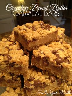 Chocolate Peanut Butter Oatmeal Bars {LOOK at that peanut butter layer! Look at it!}