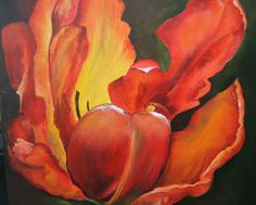 orange red contemporary flower painting lily - Google Search