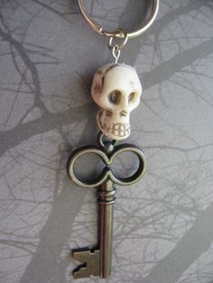 Haunted House Skull Skeleton Keychain OOAK by AngelQ on Etsy, $6.95