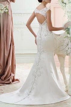 David Tutera for Mon Cheri Sheath Wedding Dress - Front Full Image
