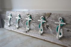 Five Anchor Wall Hooks Mounted on Recycled by ByTheSeashoreDecor, $140.00