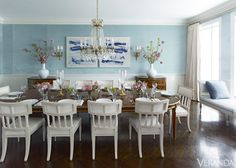 Love these white dining chairs in contrast to French Polish table  Timeless Manhattan Apartment - Manhattan Renovation - Rob Southern Design - Veranda