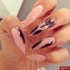 Stiletto Nail Art Design with Dreamcatcher and Feather.