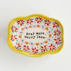 Pray More Small Artisan Trinket Dish From Natural Life