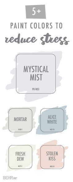 Your stress will simply melt away with this calming color palette from BEHR Paint. Shades like Mystical Mist, Mortar, Alice White, Fresh Dew, and Stolen Kiss introduce a subtle pop of color into your home while still creating a relaxing and soothing envir #tinybathrooms