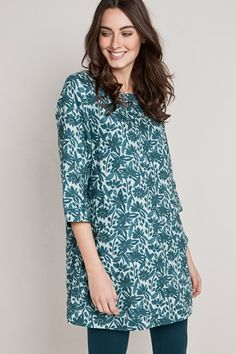 e8d4a055ddb Penarth Tunic, Linen Printed Tunic Top - Seasalt Fabric Covered Button,  Covered Buttons,