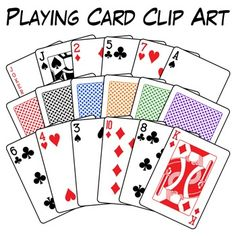 Classic playing card clip art set includes 60 high-quality, PNG images with white fill and transparent backgrounds. All fours suits are included (hearts, diamonds, clubs, and spades) along with 2 jokers and a back design in 6 different colors.