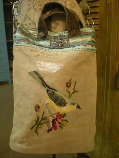 vintage needlepoint purse You know that needlepoint bird you've been hoarding since This is the reason for not letting it go. Handmade Handbags, Handmade Bags, Tapestry Bag, Diy Handbag, Boho Bags, Market Bag, Vintage Fabrics, Tote Purse, Beautiful Bags