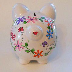 Personalized Piggy Bank Bright Vine Daisies