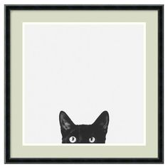 Artful and intriguing, this black and white framed print showcases a photograph of a cat.         Product: Framed print
