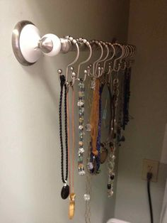 towel or curtain rod, with shower hooks...how simple.